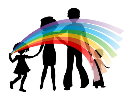 Silhouettes of family with a rainbow, symbolizing unity, friendship, love