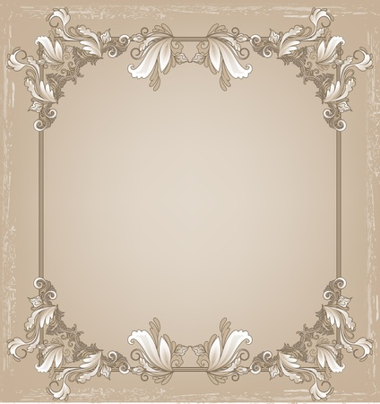 Frame for text with a floral pattern in grunge style in white and beige tone Vector