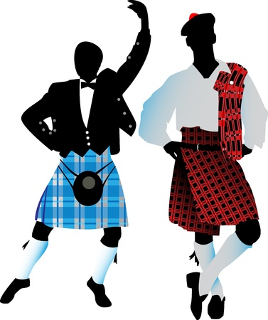 Silhouettes of the Scots in their national costumes on a white background