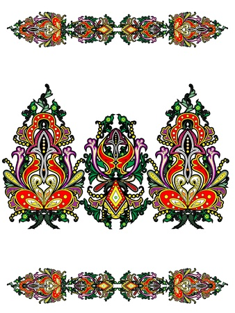 floral ornaments: Elements of Russian ornamental plant in abstract form on a white background Illustration