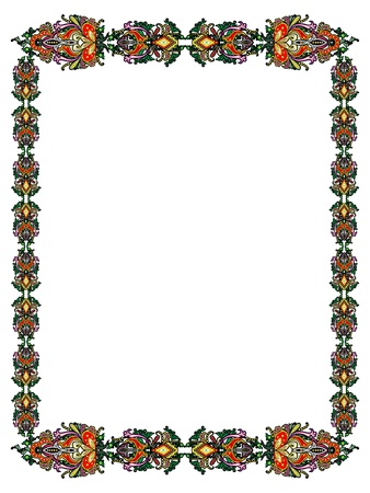 Frame of Russian ornamental plant in abstract form on a white background