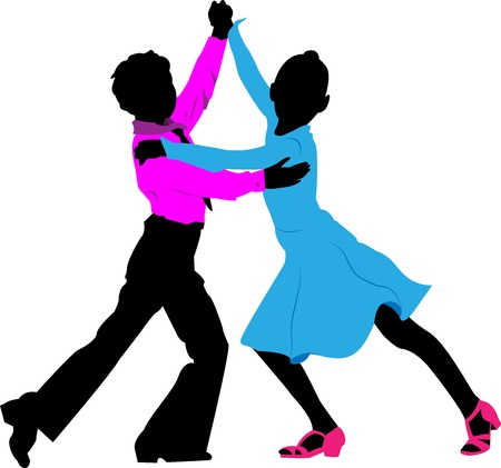 enfants qui dansent: Silhouettes des enfants dansant le couple en robe du soir sur un fond blanc Illustration