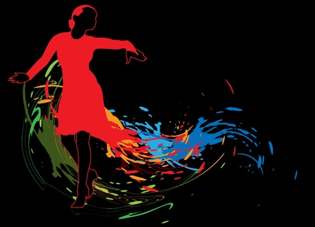 Abstract background with dancing girl in a red dress and colored spots