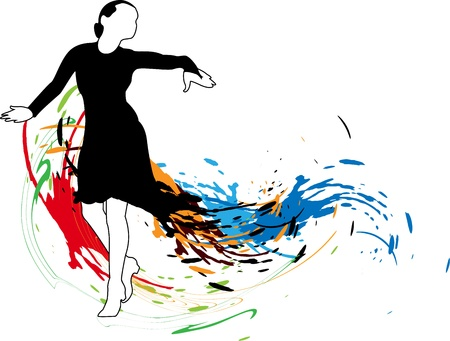 Abstract background with dancing girl in a black dress and colored spots