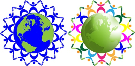 kids holding hands: Abstract children of the world, symbolizing peace, friendship on earth