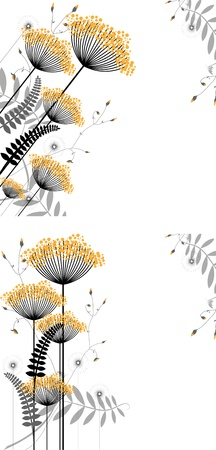 Abstract floral background of plant elements in gradations of black and yellow Illustration