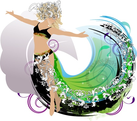 An abstract dance girl with decorative elements of plant patterns, spots and scrolls on a white background Illustration