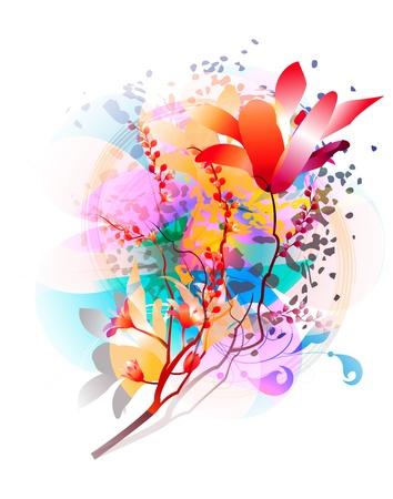 Vector floral background with transparent decorative elements