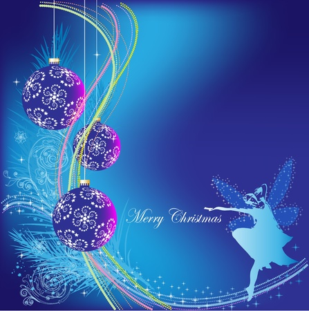 Christmas blue background with Christmas decorations, balloons and a little fairy