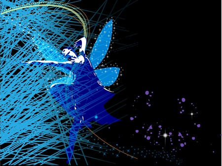 Abstract background with fairy fairy who dances in the stars Illustration