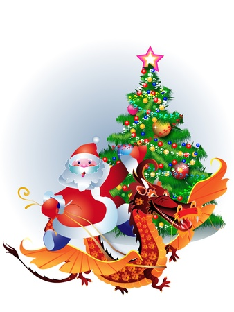 Santa Claus riding on a dragon, a symbol of 2012 Stock Vector - 11183234
