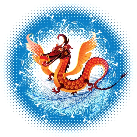 Abstract dragon symbolizing the year 2012 leap terms of halftone Vector