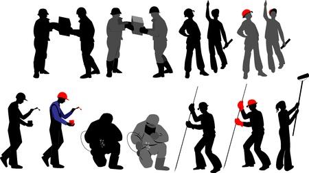 hard worker: Silhouettes lavoratore alla costruzione di professione su sfondo trasparente