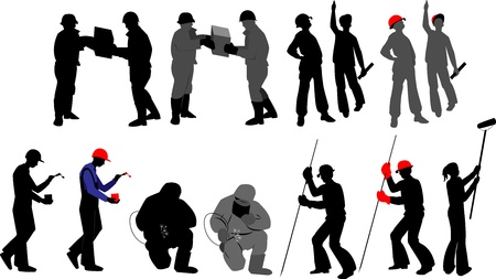 construction worker cartoon: Silhouettes worker to building profession on transparent background