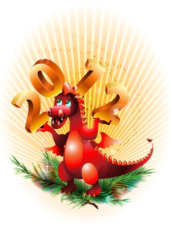 Abstract dragon symbolized year 2012 with numeral on hand Vector