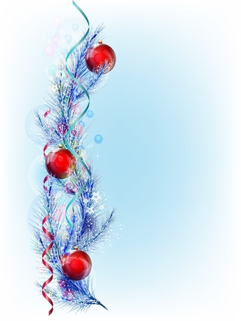 Christmas tree branch with red balloons, serpentine and decorations