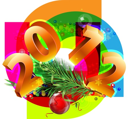 New Year decorative picture with the numbers 2012 Illustration