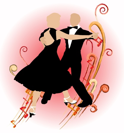 Silhouette dancing couple on abstract background of music Ilustração