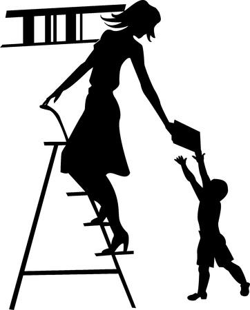 buchhandlung: Silhouette eines M�dchens, Bibliothekar, das Buch des Kindes
