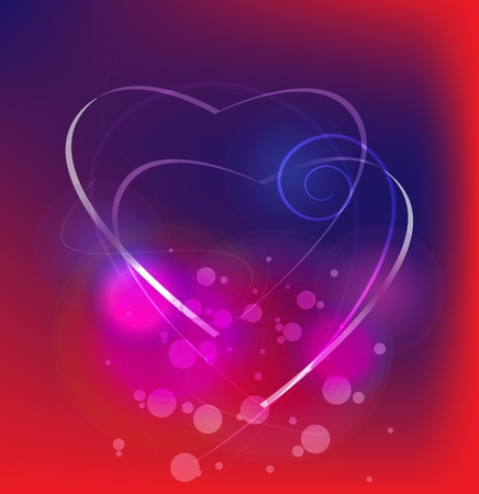 Abstract composition of two hearts on purple - blue background Illustration