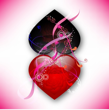 Abstract composition of two red and black hearts Vector