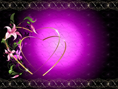Background for the text with decorative floral elements and silhouettes of hearts 2 Stock Vector - 12246922