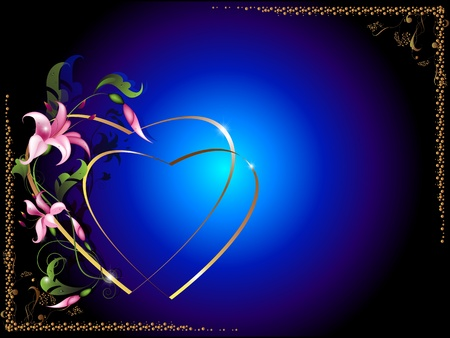 Background for the text with decorative floral elements and silhouettes of hearts 1 Vector