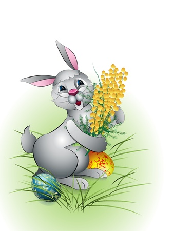 single color image: Easter Bunny on a white background with flowers and Easter eggs