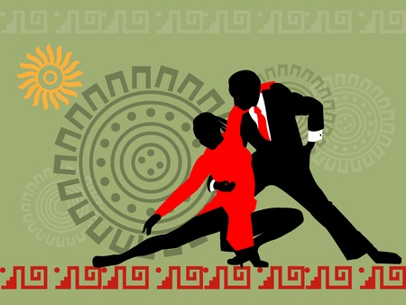 latin americans: silhouette of dancing couple in the background of Latin American motifs Illustration