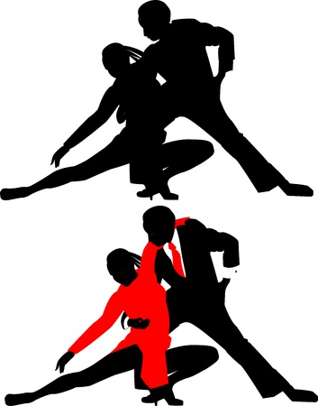 silhouettes of dancing couples without background Vector
