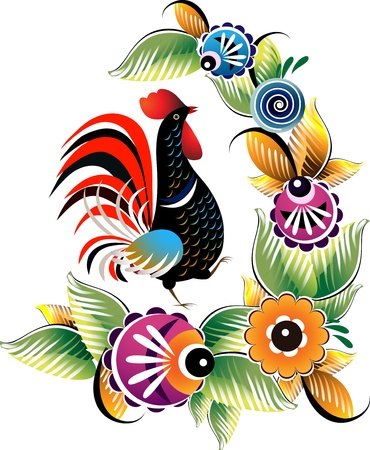 aves de corral: Gallo negro en motivos nacionales sobre un fondo blanco con una flor