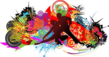 the attributes: Dancing couple on abstract background with musical attributes Illustration