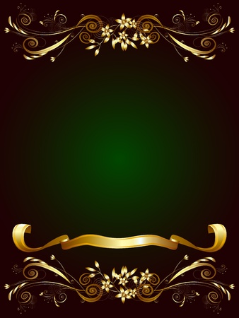 виньетка: Декоративная рамка для текста на темно-зеленом фоне с золотым растительным орнаментом и ленты