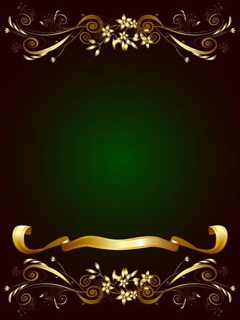 fondo verde oscuro: Marco decorativo para el texto sobre un fondo verde oscuro con adornos florales de oro y la cinta