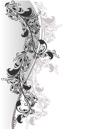 Abstract Composition of the decorative floral elements in black and white on a background for text