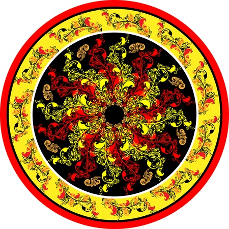 Decorative floral designs on the Russian folk motifs in circle