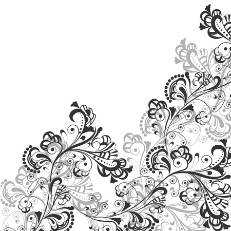 Floral abstract pattern in shades of gray on a transparent background Illustration