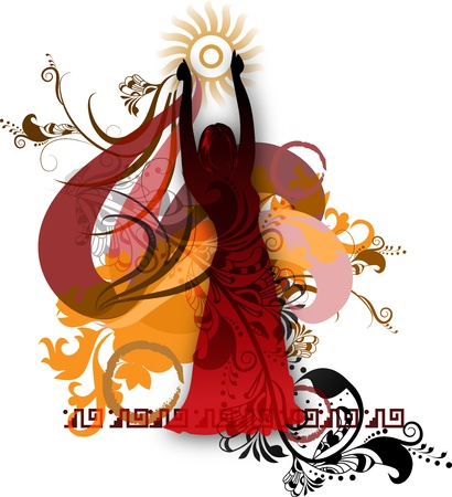 Isolated silhouette of a dancer against a background of decorative floral elements and patterns of Latin American