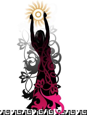 tanzen cartoon: Isolierte Silhouette einer Tänzerin vor dem Hintergrund einer dekorativen floralen Elementen und Mustern der lateinamerikanischen Illustration