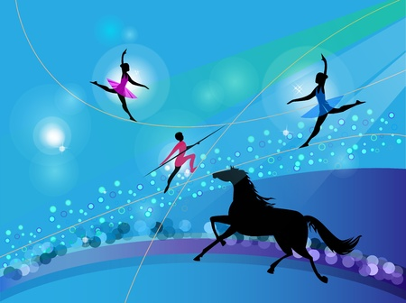 Silhouettes of circus trapeze artists and a horse on an abstract background