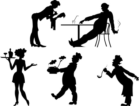 Isolated silhouettes of people the restaurant business on a transparent background Illustration