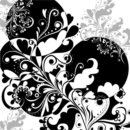 Floral abstract pattern in black and white on a white background 2 Vector