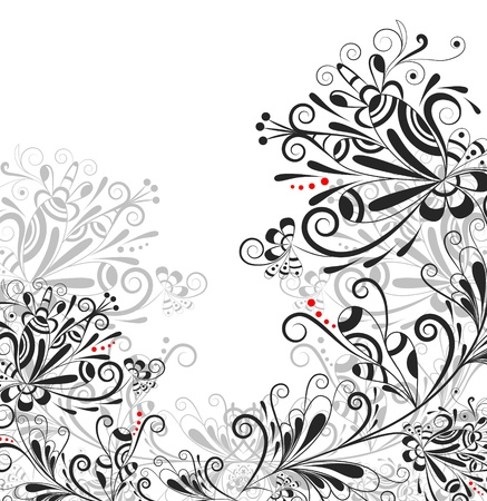 Floral abstract pattern in black and white and red on a white background