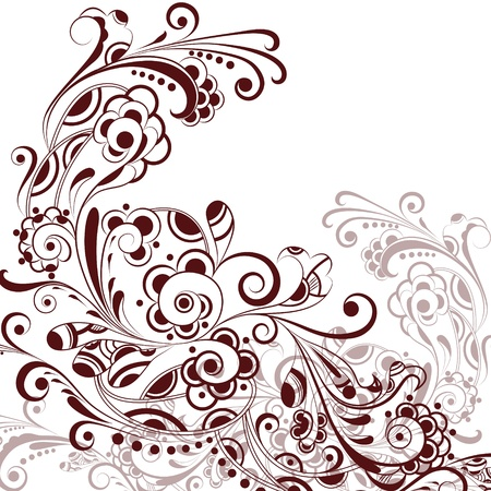 blanching: Floral abstract pattern in warm tone on white background Illustration
