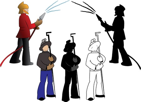steelmaker: Silhouettes of firefighters and steelmaker, options  on a white background Illustration