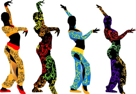 Silhouettes of dancers moving east with decorative accents on a transparent background