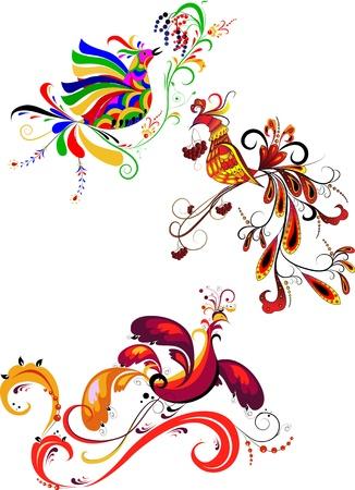 art painting: Decorative birds on a transparent background