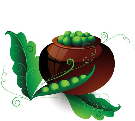 Pot of green peas with pods and leaves on a white background Vector