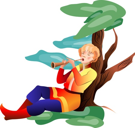 flutes: The young man playing a pipe by the tree in a meadow on a transparent background