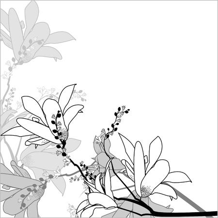 Floral arrangement in a square in a black and white Illustration